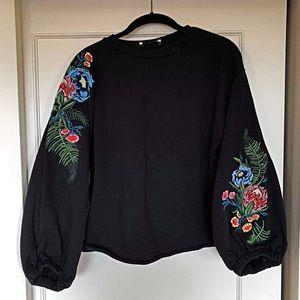 Black Zara embroided flower sweater